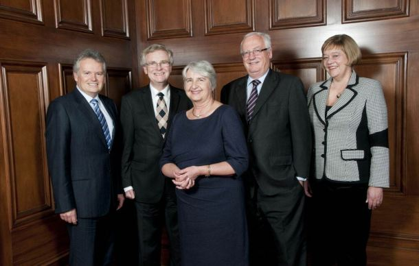 From left  (2nd) Justice Andrew McGrath. (3rd) Sian Alias